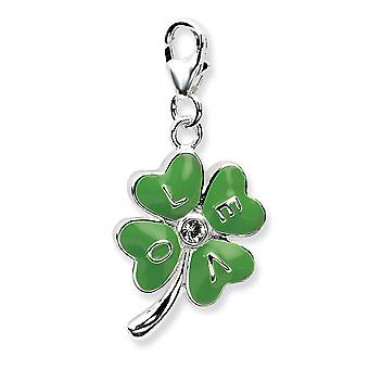 925 Sterling Silver Rhodium plaqué Fancy Lobster Closure 3-d Enameled 4 Leaf Cloverw Lobster Clasp Charm - Measures 31x1