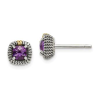 925 Sterling Silver With 14k Square Cushion Amethyst Post Earrings - .33 cwt
