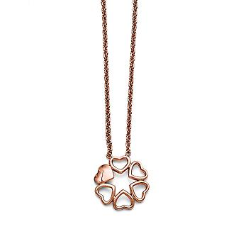 Edelstahl poliert rosa Ip vergoldet Kreis Herz Halskette - 17,25 Zoll