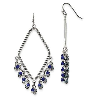 Silver-tone Shepherd hook Sodalite and Blue Crystals Diamond Shaped Dangle Earrings