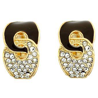 Clip On Earrings Store Brown Enamel and Crystal Knot Semi Hoop Clip On Earrings
