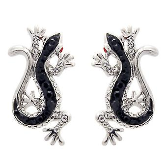 Butler & Wilson Jet & Crystal Lizard Earrings