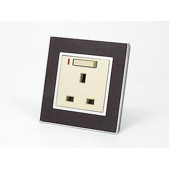 I LumoS AS Luxury Goat Skin Leather Single Switched with Neon Wall Plug 13A UK Sockets