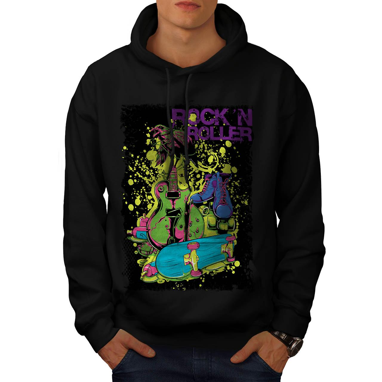 DJ Rock n Roller Party Music Tune Men Black Hoodie | Wellcoda