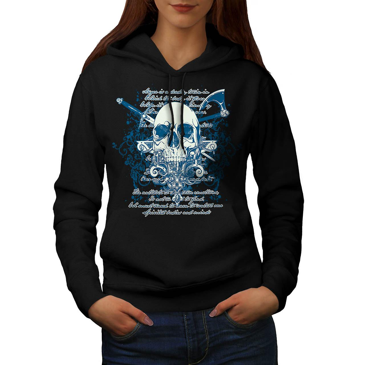 Axe Death Cool Goth Skull Women Black Hoodie | Wellcoda