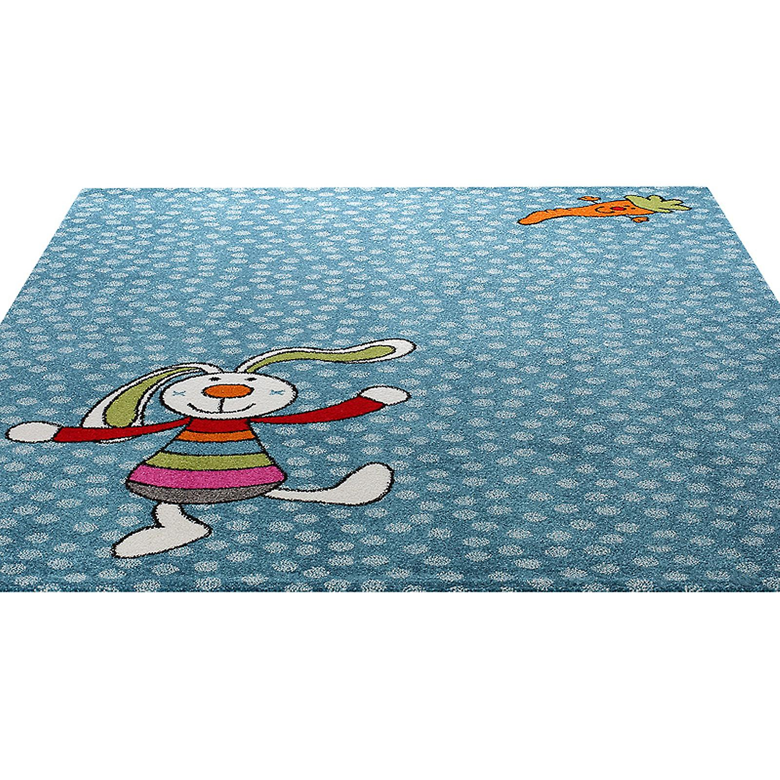Rainbow Rabbit Rug In Blue 0523 01