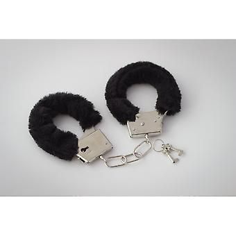 Black plush cuffs 2 keys Sicherheitshebe l cuff adjustable