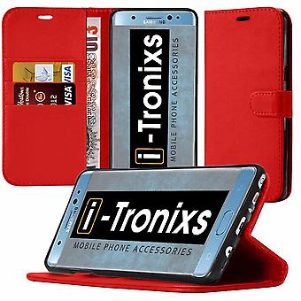 iTronixs cover case for Samsung Galaxy A5 (2017) faux leather wallet case durable stand wallet elegant classic flip cover case skin cover - Red