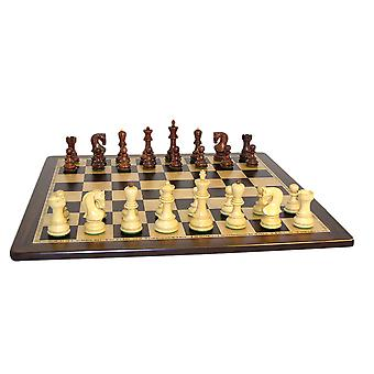 Rosewood Old Russian Chess Set With Ebony and Birdseye Maple Board