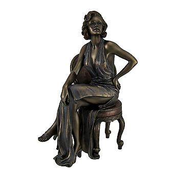 Retro Pin Up Girl In Daring Dress Posing On Chair Statue 9 Inch