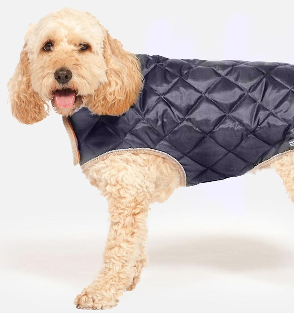 Quilted Dog Coat Navy 40cm (16