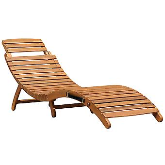 Charles Bentley Fcs Acacia Wooden Large Foldable Sun Lounger - Sunbathing Relaxing - Portable Compact