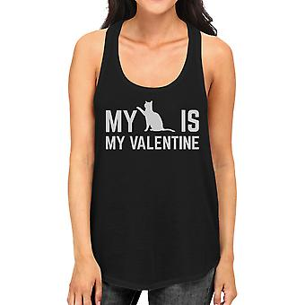 My Cat My Valentine Women's Funny Graphic Tank Top For Cat Lover