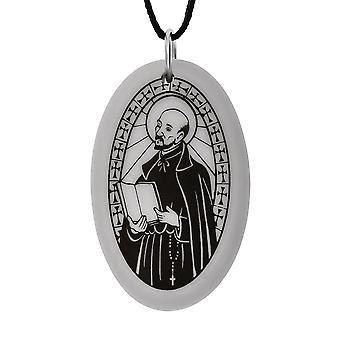 Handmade Saint Ignatius of Loyola Oval Shaped Porcelain Pendant ~ 36 inch Black Cord