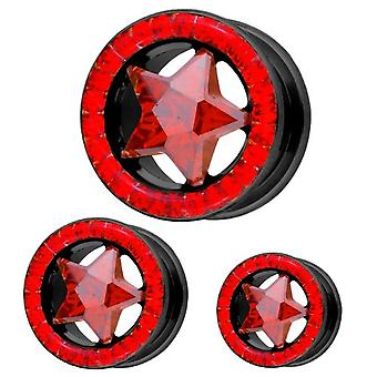 Ear Black Tunnel Piercing Star with Red Multi Crystals | 8 - 16 mm