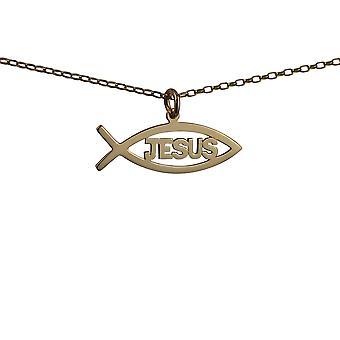 الذهب قيراط 9 بوصة 35x7mm يسوع المسيحي الأسماك قلادة مع بلشر 16 سلسلة مناسبة فقط للأطفال