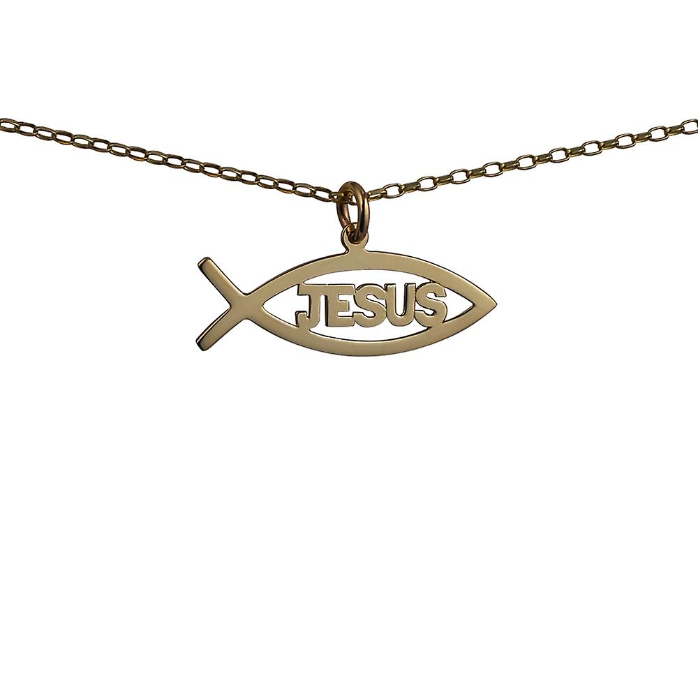 9ct Gold 35x7mm Jesus Christian Fish Pendant with a belcher Chain 16 inches Only Suitable for Children