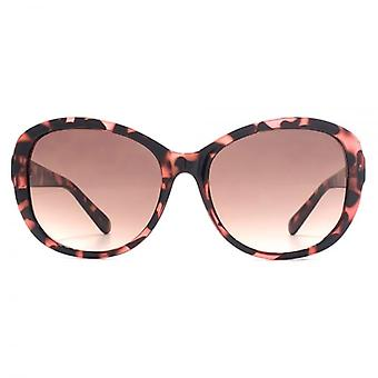 French Connection Facet Trim Sunglasses In Shiny Peach Tortoiseshell