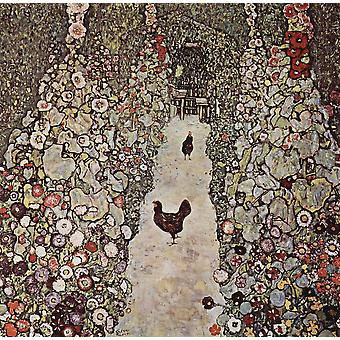 Gustav Klimt - The Path With Chicken Poster Print Giclee