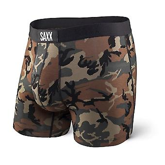 SAXX Vibe Woodland Camo Boxer Brief, Green/Brown