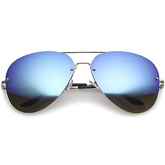 Oversize uindfattede Aviator solbriller Teardrop spejlet linsen Metal slanke arme 65mm