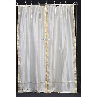 Tie oberen schiere Sari Vorhangs Creme / drapieren / Panel - paar