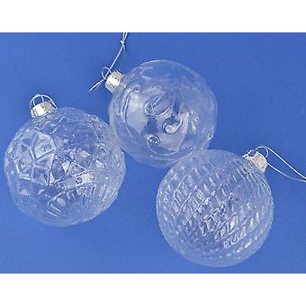 3 Patterned 80mm Clear Glass Christmas Baubles for Crafts