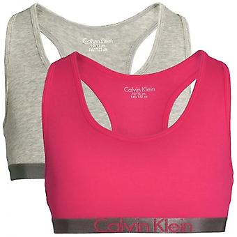 Calvin Klein Girls 2 Pack Customized Stretch Bralette, Heather Grey / Rose Red, Medium