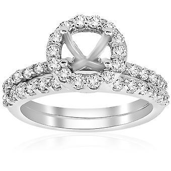 7 / 8ct Diamanten Engagement Ehering Einstellung 14K White Gold Befestigung