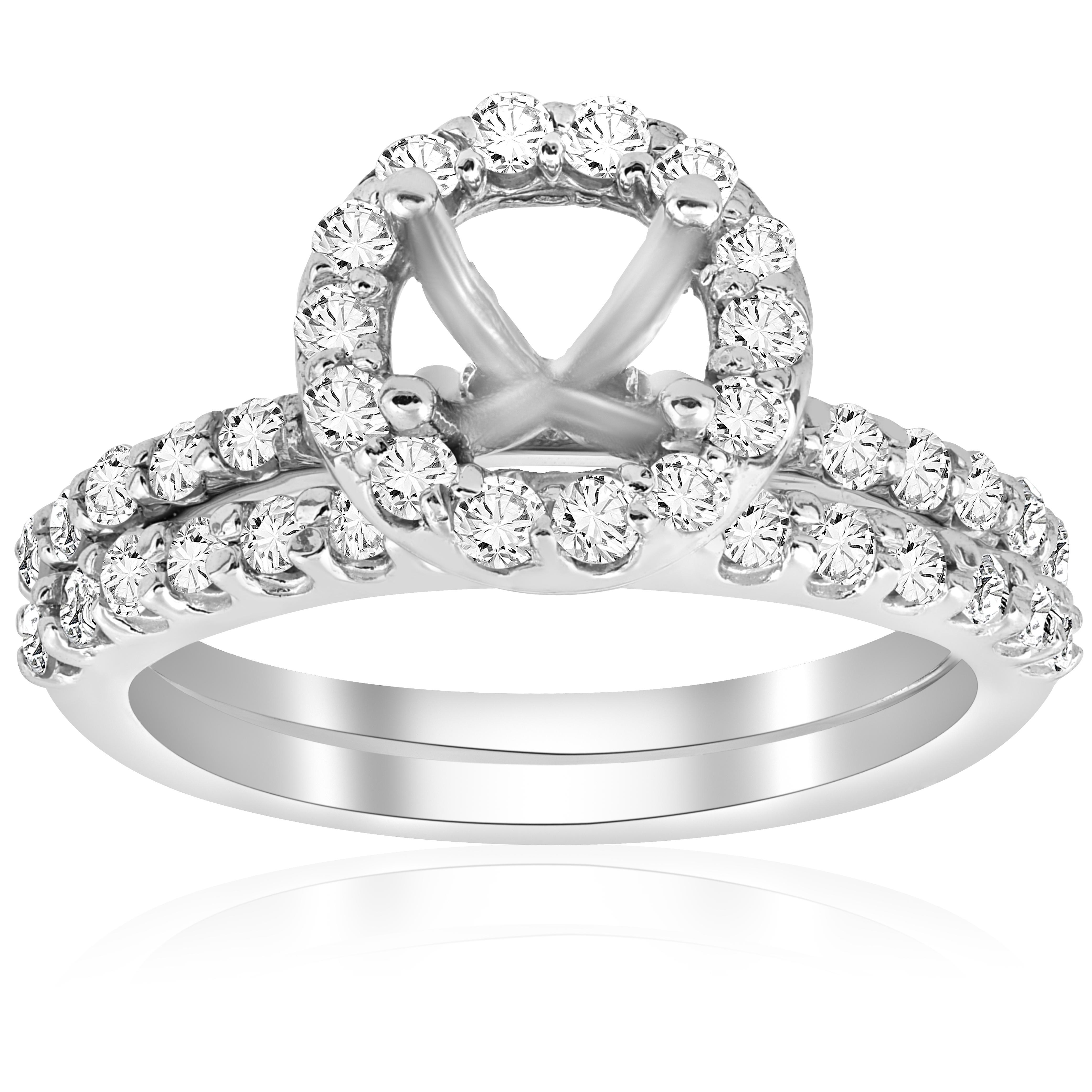7 8ct Diamond Engagement Wedding Ring Setting 14K blanc or Mounting