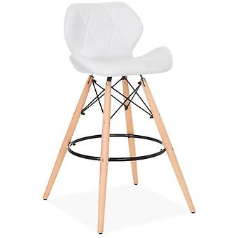 Superstudio Wooden Pentagone Stool Pu White Leatherette