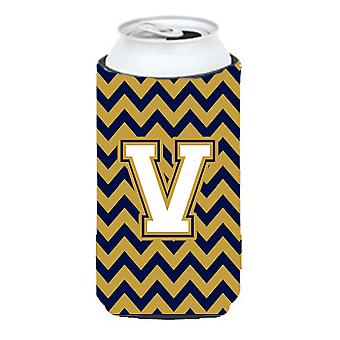 Letter V Chevron Navy Blue and Gold Tall Boy Beverage Insulator Hugger