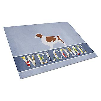 Welsh Springer Spaniel Welcome Glass Cutting Board Large