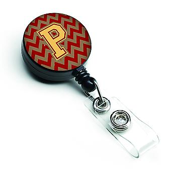 Letter P Chevron Garnet and Gold  Retractable Badge Reel
