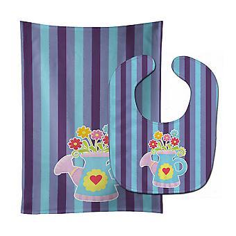 Carolines schatten BB9056STBU Flower Pot Baby Slabbetje & Burp doek