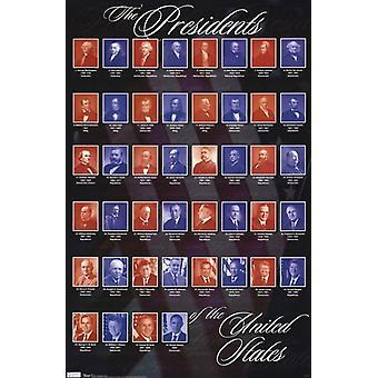 رؤساء الولايات المتحدة الأمريكية طباعة الملصق ملصق