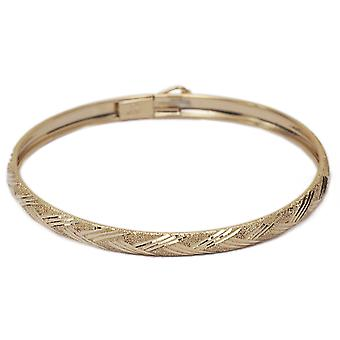 "Floreo 10k Yellow Gold Kids bangle bracelet Flexible Round with Diamond Cut Design (0.12"")"