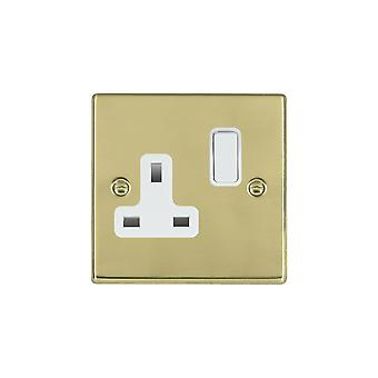 Hamilton Litestat Hartland Polished Brass 1g 13A DP Switched Socket WH/WH