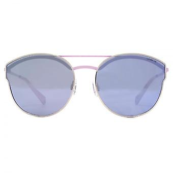 Polaroid Double Bridge Sunglasses In Light Gold Violet Mirror Polarised