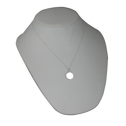 Silver 20mm round diamond cut edge Disc with a curb Chain 20 inches