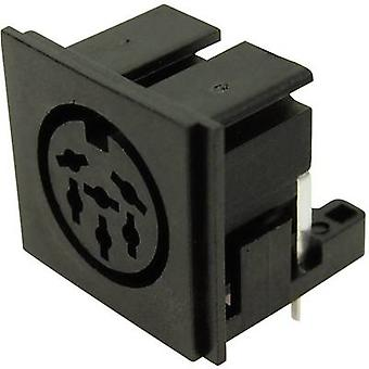 DIN connector Socket, horizontal mount Number of pins: 6 Black Cliff FC680806 1 pc(s)