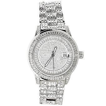 Hög kvalitet FULL ICED ut CZ watch - ROYAL silver