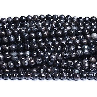 Strand 40+ Black/White Tiger Eye 8mm Faceted Round Beads CB31102-2