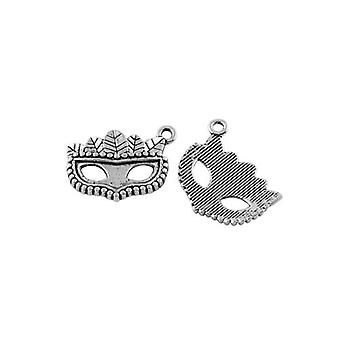 Packet 5 x Antique Silver Tibetan 21mm Masquerade Mask Charm/Pendant ZX09425