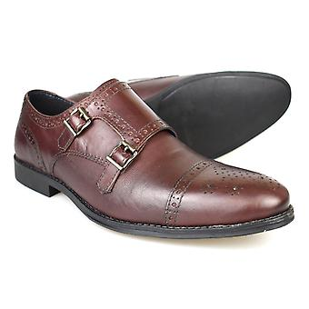 Red Tape Charles Mens Oxblood Leather Formal Monk Shoes