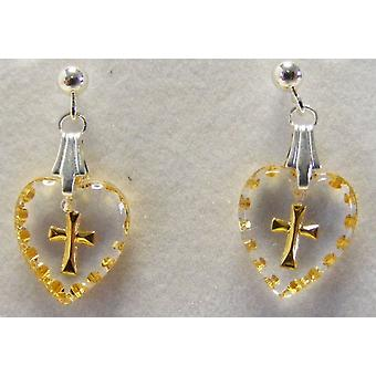 Hand Painted Mini Heart Shaped Cross Crystal Earrings
