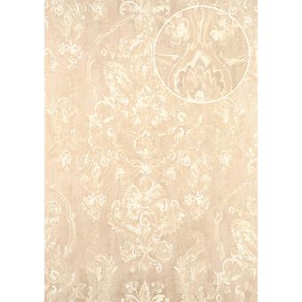 Baroque wallpaper ATLAS CLA-602-3 non-woven wallpaper embossed with floral ornaments shiny cream beige grey 5.33 m2 perl white