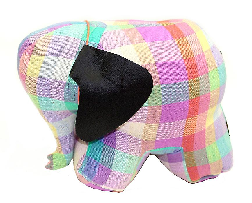Elma Check Elephant Doorstop by Monica Richards