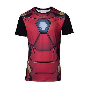 Marvel Comics Iron Man Mens Suit Sublimation T-Shirt Large Multicolour