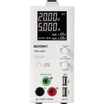 VOLTCRAFT hauts-3205 Bench PSU (adjustable voltage) 1 - 20 Vdc 0.25 - 5 A 100 W OVP, slim type No. of outputs 3 x